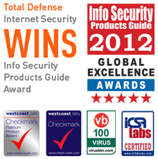 Total Defense Internet Security Wins 2012 Global Excellence Awards, West Coast Labs, VB 100 Virus, ICSA Labs Certified
