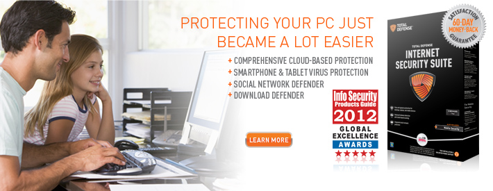 Total Defense Internet Security Suite includes Comprehensive cloud-based protection, smartphone and tablet protection, social network defender and download defender.
