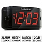 Defender ST300-SD Covert DVR / LED Alarm Clock - Hidden Camera, 1/6&quot; CMOS Sensor, DVR, Includes 2GB SD Card, Motion Activated Recording, Black (Refurbished)