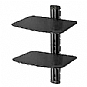 Peerless Dual AV Wall Shelf with Glass ESHV30-S1 - Mounting kit ( wall bracket, shelf ) for DVD player / game console - black (Refurbished)