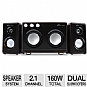 Eagle Arion ET-AR514R-BK Soundstage Speakers - 2.1 Channel, 160 Watts Total, Dual Subwoofers, Karaoke Inputs, Dark Brown