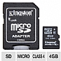 More Info on Kingston KR-C114G-2MQ 4GB microSDHC Flash Card - Class 4, Adapter, 4MB/sec Data Transfer Rate, FAT 32, (RETAIL)
