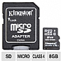 More Info on Kingston KR-C118G-2MQ 8GB microSDHC Flash Card - Class 4, Adapter, FAT 32, (RETAIL)