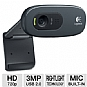 Logitech 960-000694 HD Webcam C270 - 720p, 3 MegaPixels, Built-in Microphone, Logitech Vid HD Video Calling, Black