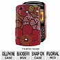 Mobo ECMBB8520LX116 Cell Phone Diamond Snap On Case - Compatible with Blackberry 8520, Floral, Red