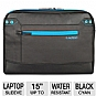 Altego 36502 Coated Canvas Cyan Series Laptop Sleeve - Fits Notebook PCs up to 15&quot;, Black/Cyan