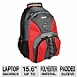 "Samsill 39318 Microsoft Laptop Backpack Queue - Fits Up To 15.6"", Molded Plastic Carrying Handle, Storage for Laptop Accessories, Red"