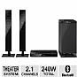 Panasonic SC-HTB350 Home Theater System - 2.1 Channel, Detachable Sound Bar, Wireless Subwoofer, 240 Watts Total, 2x Optical Audio Input, Bluetooth (Refurbished)