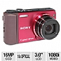 "Sony HX7V DSCHX7V Cyber-shot Digital Camera - 16 Megapixel, 10x Zoom, 3"" LCD, CMOS, USB, Red"