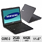 "Samsung NP900X1A-A01US Series 9 Notebook PC - Intel Core i3-380UM 1.33GHz, 2GB DDR3, 64GB SSD, Backlit Keyboard, Intel HD Graphics 3000, 11.6"" Display, Windows 7 Home Premium 64-bit (Refurbished)"