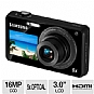 "Samsung ST700 EC-ST700ZBPBUS DualView Digital Camera - 16.1 Exact Megapixels, 5x Optical, 3.0"" Rear LCD, 1.8"" Front LCD, Black (Refurbished)"