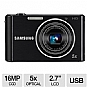 "Samsung ST76 Digital Camera - 16 MegaPixels, CCD Sensor, 2.7"" LCD, 5x Optical, 720p, 25mm Wide Angle Lens, MicroSD Slot, USB, Black (Refurbished)"