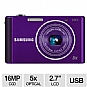 "Samsung ST76 Digital Camera - 16 MegaPixels, CCD Sensor, 2.7"" LCD, 5x Optical, 720p, 25mm Wide Angle Lens, MicroSD Slot, USB, Purple (Refurbished)"