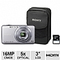 "Sony DSC-WX70BDL Cyber-shot Digital Camera Bundle - Includes 4GB SDHC Card and Case, 16 MegaPixels, 1/2.3"" CMOS Sensor, 3"" LCD, 5x Optical, HDMI, USB, Silver (Refurbished)"