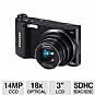 "Samsung WB150F Digital Camera - 14 Megapixels, CCD Sensor, 18x Optical, 3"" LCD, Built-in WiFi, 25MB Internal Memory, Black (Refurbished)"