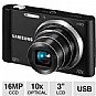 "Samsung ST200F Smart Digital Camera - 16 MegaPixels, 1/2.3"" CCD Sensor, 3"" LCD, 10x Optical, Wi-Fi, 16MB Internal, MicroSD Card Slot, USB, Black (Refurbished)"