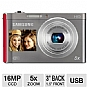 "Samsung DualView DV300F Digital Camera - 16 MegaPixels, 1/2.3"" CCD Sensor, 3"" Back LCD, 1.5"" Front LCD, 720p HD Video, 5x Optical, Built-in Wi-Fi, Micro SD Card Slot, USB, Red (Refurbished)"