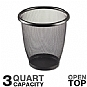 Safco 9716BL Round Mesh Wastebasket - 3 Quart Capacity, Steel Mesh, Open Top, Black
