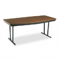 Click to view: Economy Conference Folding Table, Boat, 72w x 36d x 30h, Walnut!
