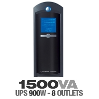 Click to view: CyberPower / 8 Outlet / 1500VA / 900Watt / UPS with LCD Status Panel (Refurbished)!