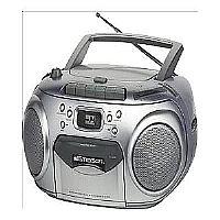 Click to view: Emerson Portable Radio/CD/Cassette Player/Recorder Boombox - AM/FM, Stereo, CD DA Audio Format, Silver (Refurbished) - PD6548SL!