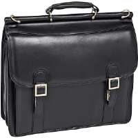 "Click to view: McKlein  15.4"" Halsted Black Leather Double Compartment Notebook Case!"