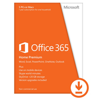 Click to view: Microsoft Office 365 Home - Subscription license ( 1 year ) - up to 5 PCs and Macs in one household - hosted - 32/64-bit, ESD - Win, Mac - All Languages - Canada, United States!