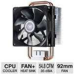 Click to view: CoolerMaster - Hyper T2 CPU Cooler - 92mm PWM Fan, Direct Contact Heatpipes, Universal Mounting Kit - RR-HT2-28PK-R1!
