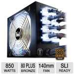 Click to view: Kingwin LAZER LZ-850 850W Power Supply - 850-Watt, Modular, ATX, SLI-Ready, 6x 12V Rails, Blue & White switch LED fan, 80 plus Bronze!