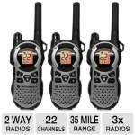 Click to view: Motorola Talkabout MT352TPR 2-Way Radios - 3 Pack, 35 Mile Range, 22 Channel, Privacy Codes121, VOX, Weather Alerts, Weatherproof, Auto Squelch, Flashlight, Rechargable!