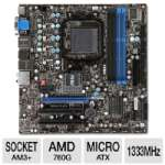 Click to view: MSI 760GM-E51(FX) AMD 760 Motherboard - Micro ATX, Socket AM3+, AMD 760G Chipset, 1333MHz DDR3, SATA II (3Gb/s), RAID, 8-CH Audio, Gigabit LAN, USB 2.0!