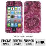 Click to view: Mobo ECMIPH4LXF05 Cell Phone Diamond Snap On Case - Compatible with iPhone 4, Pink!