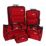 "Click to view: Samsonite 5 Piece Luggage Set - Set Includes 22"" & 26"" Upright, Travel Duffel & Tote, Toiletry Kit, Red - 17386-1726!"