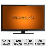 "Click to view: PROSCAN PLDED3273A-B 32"" Class LED TV - 720p, Widescreen 16:9, 1366 x 768, 3x HDMI!"