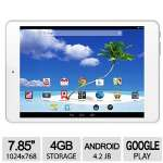 "Click to view: Proscan 7.85"" Tablet - Android 4.2 Jelly Bean, 1.5GHz Dual Core RK3026, 512MB DDR3 Memory, 4GB Storage, 7.85"" Capacitive Multi Touch Display, 0.3MP Camera, WiFi, Google Certified - PLT7803G!"