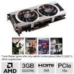 Click to view: XFX Radeon HD 7970 Video Card - 3GB GDDR5, PCI-Express 3.0 (x16), 1x Dual-Link DVI-D, 1x Dual-Link DVI-I, 2x Mini DisplayPort, 1x HDMI, DirectX 11, Dual-Slot, Dual Fan, (FX-797A-TDJC)!