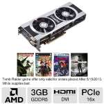 Click to view: XFX Radeon HD 7970 FX797ATDFC Video Card - 3GB, DDR5, 1x Dual-link DVI-I, 2x mini DisplayPort, 1x HDMI, DirectX 11, CrossFire Ready, HD4K Support!