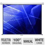 "Click to view: Mustang SC-M100D4:3 100"" Diagonal 4:3 Manual Projection Screen - White Case!"