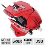 Click to view: Mad Catz M.M.O.7 Gaming Mouse - USB, 6400 DPI, Laser Sensor, Weight System, Programmable Buttons, Adjustable DPI, Interchangeable Pinkie Grips & Rests, Red MCB437130013/04/1!