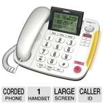 Click to view: Uniden CEZ260 Corded Phone - Speakerphone, Large Screen Display, Caller ID, White!