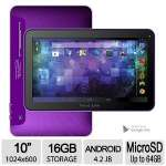 "Click to view: Visual Land Prestige Pro 10D 16 GB Internet Tablet - 10"" Multi-Touch Widescreen, Android 4.2, VGA Front/2MP Rear Camera, 16GB Storage, 1.2GHz,  Purple - ME-10D-16GB-PRP!"