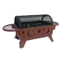 Click to view: Landmann 28740 Northern Lights Grill - Wood or Charcoal, Cooking Grates, Spark Guard, Access Door, Safety Ring, Steel Wheels, Folding Side Shelves, Stars and Moon, Georgia Clay!