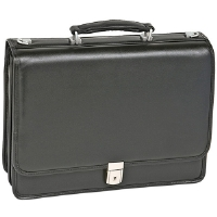 "Click to view: McKlein  17"" River North Black Leather Triple Compartment Briefcase!"