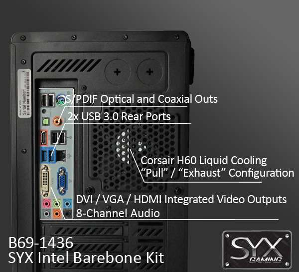B69-4036 - SYX barebone kit featuring Corsair showing off the rear I/O