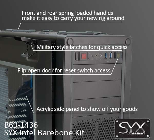 B69-4036 - SYX barebone kit featuring Corsair Vengeance C70 showing off the front panel