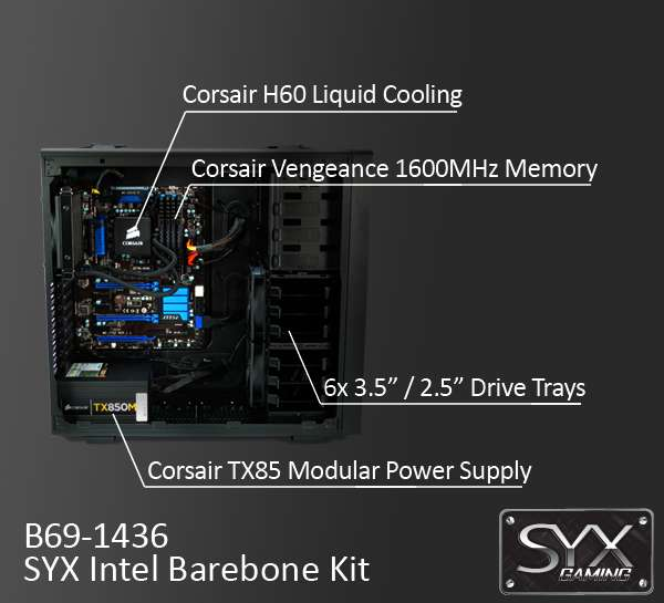 B69-4036 - SYX barebone kit featuring Corsair Vengeance C70 showing off the MSI Z77A-G45 motherboard