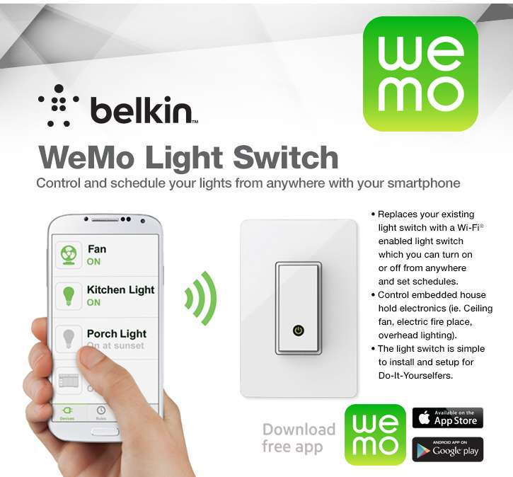 Belkin Wemo Cellphone Smartphone Wifi Control Light Switch