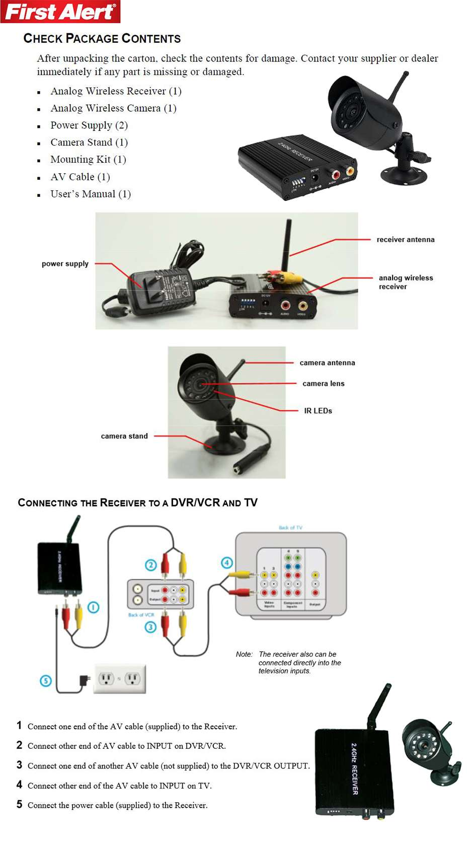First Alert Wireless Analong Camera A 550 At Diagram Analog W Receiver Product Details