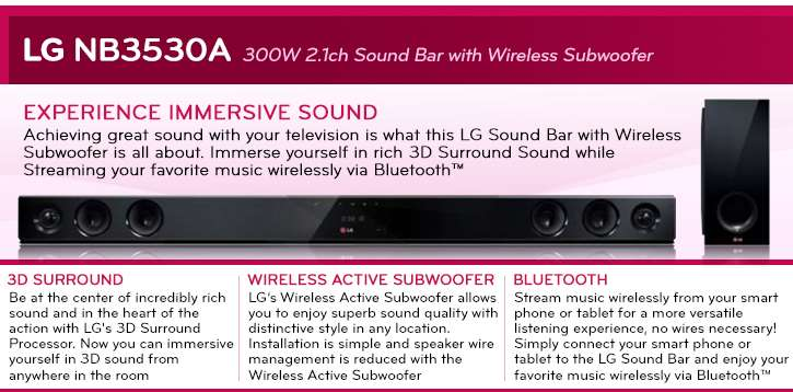 lg wireless soundbar 2 1 channel 300 watts bluetooth wireless subwoofer wall mountable. Black Bedroom Furniture Sets. Home Design Ideas