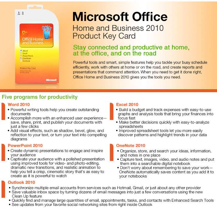 Buy the microsoft office home and business 2010 pkc at - Buy office home and business ...